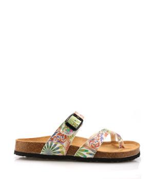 636634239 Zdravotní bílé kožené květované pantofle EMMA Shoes